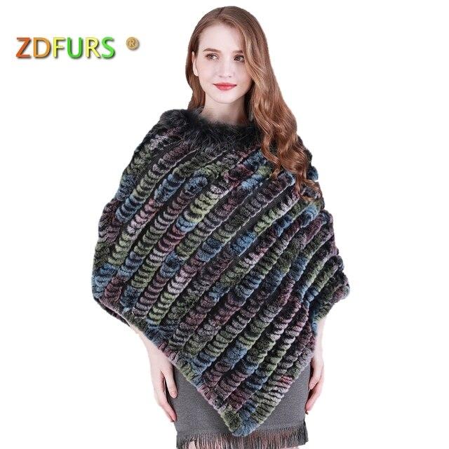 ZDFURS * high quality Real Rabbit Fur poncho Raccoon Fur trim rex rabbit fur shawl Cape Knitted Fur warps