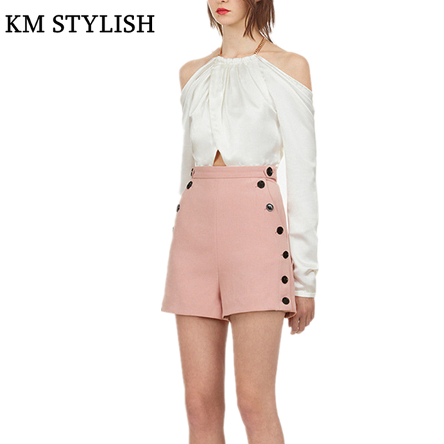 7114c7bbbee0 New Chain Halter Neck Backless Long Sleeve Slim High Waist Shorts Jumpsuit  White Splice Pink Off