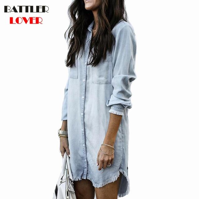 2019 блузка, женские рубашки Жан длинная рубашка лето для женщин рубашки для мальчиков пикантные Женские топы и блузки малышек повседневное свободные Кнопка Blusas