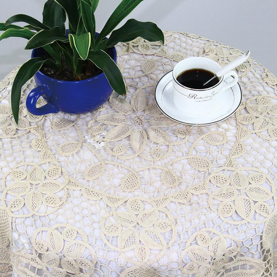 QUNYINGXIU Baumwolle Toskana Spitze Tischdecke Beige Handmade Pretty - Haustextilien - Foto 1