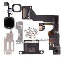 1 セットのための iphone 6 6s プラスホームボタンフレックス + フロントカメラセンサー近接 + イヤホン + フルネジ + イヤホン金属修理部品