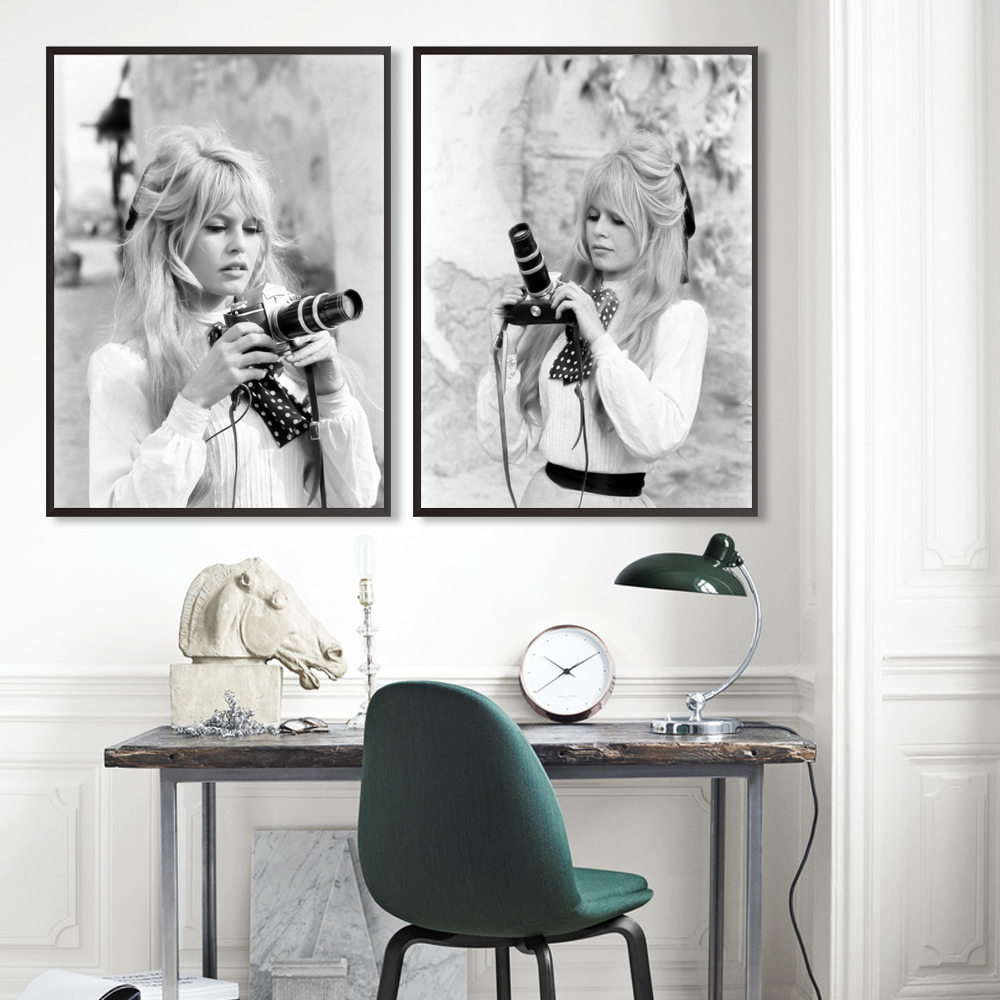 Brigitte Bardot French Fashion Poster Canvas Scandinavian Black And White Model Photo Vintage Picture Wall Art Home Decor
