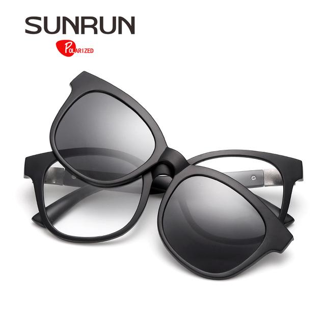 SUNRUN Marco Óptico TR90 gafas de Sol Polarizadas de Los Hombres Lente Gafas Desmontables de Empalme de La Vendimia Gafas Mujeres oculos TR2207