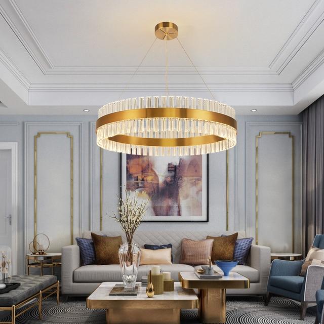 Modern Round Gold LED Crystal Chandelier Living Room Dining Room Bedroom Hanging AC110-240V Luxury indoor lighting light lamp