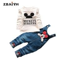 新しい秋ミッキー赤ちゃんの女の子子供子供服セットinfantil漫画ミニーtシャツデニムオーバーオールジーンズパンツ新生児クール