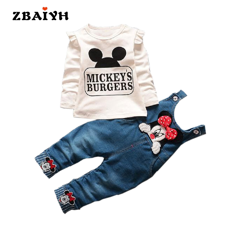 New Autumn Mickey Baby Girl Kids Children Clothing Sets Infantil Cartoon Minnie T-shirt Denim Overalls Jeans Pants Newborn Cool