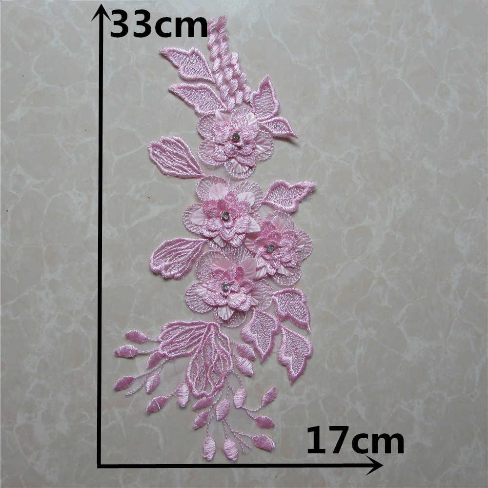 Merletto di Colore Rosa Venise Tessuto Applique da Cucire Trim Forniture Accessori Motivo Camicetta Fai da Te Decorare Neckline Del Fiore Belle Applique YL1080