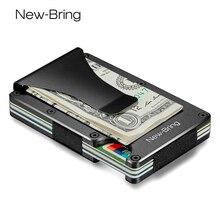 نيوبرينغ معدن صغير المال كليب العلامة التجارية موضة أسود أبيض حامل بطاقة الائتمان معرف مع تتفاعل مكافحة سرقة محفظة الرجال