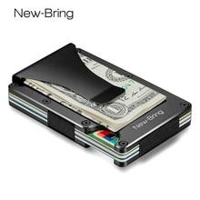 NewBring מתכת מיני קליפ כסף מותג אופנה שחור לבן כרטיס אשראי מזהה מחזיק עם RFID נגד גנב ארנק גברים
