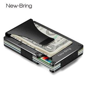 Image 1 - Newbring mini clipe de dinheiro, porta cartões de crédito da moda preto e branco, com rfid, carteira anti roubo para homens
