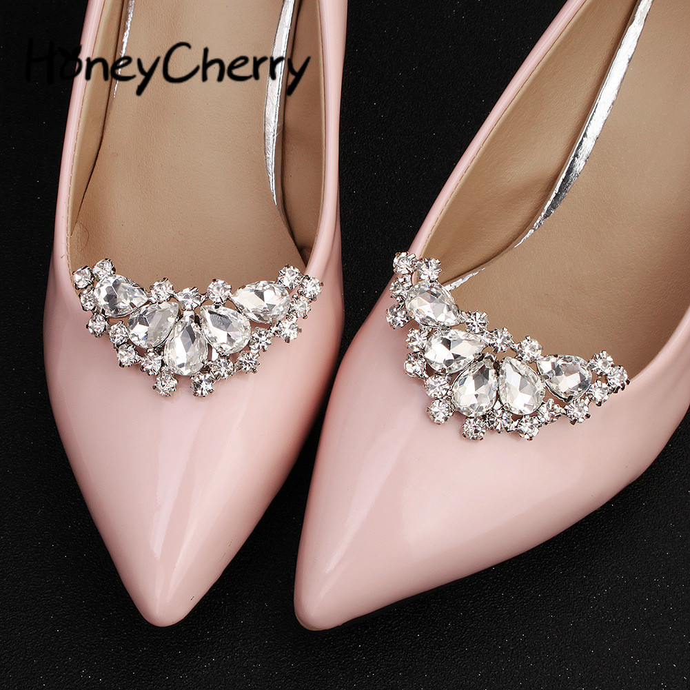 Charitable Metal Button Brides Wedding Shoes Decoration Of High-grade Water Drill Shoes In Flower Firm In Structure Shoes