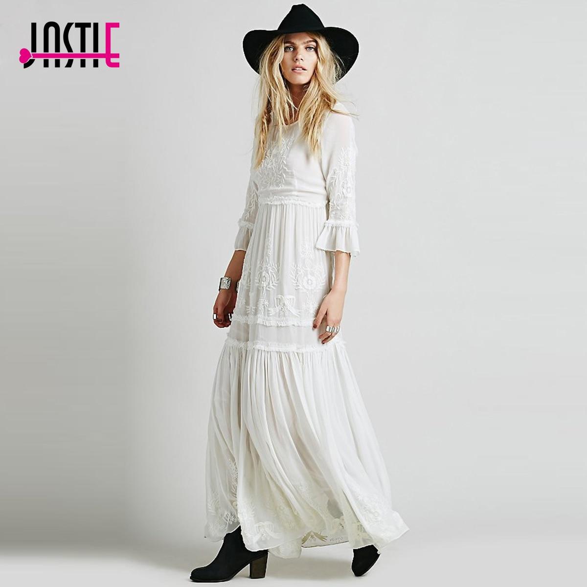 Aliexpress Com Buy Elegant Flare Sleeve Wedding Dress: Jastie Elegant Women Boho Dress Flare Sleeve O Neck