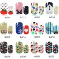 1Pc/12 Tips New Arrival Nail Art Water Decals QJ211-226 Spring Onions Glitter Powder Circle Nail Art Decoration Stickers Design