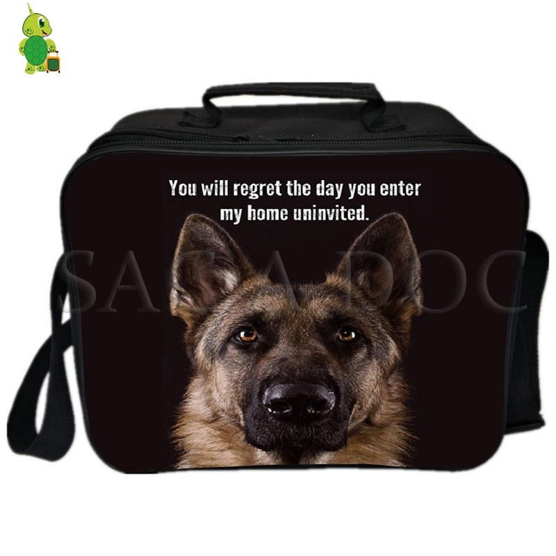 German Shepherd Dog/Horse Animal Lunch Bag Women Men Fresh Keeping Ice Cooler Bag Insulation Thermal Bag Food Drink Picnic Bag image