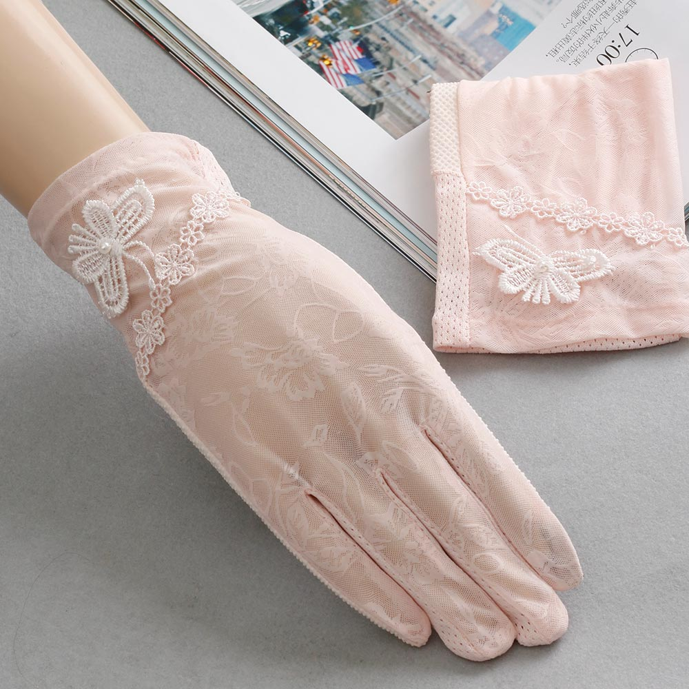 Fingerless gloves for sun protection - Deledelai Cute Comfortable Gloves Skid Resistance Pattern Lace Fingerless Gloves Sun Protection Accessories Touch Screen Gloves