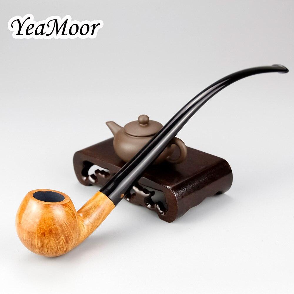 Classique 26 cm Long Briar plié tuyau 9mm filtre Vintage fumer tabac tuyau 74 outils gratuit Briar bois fumer tuyau ensemble