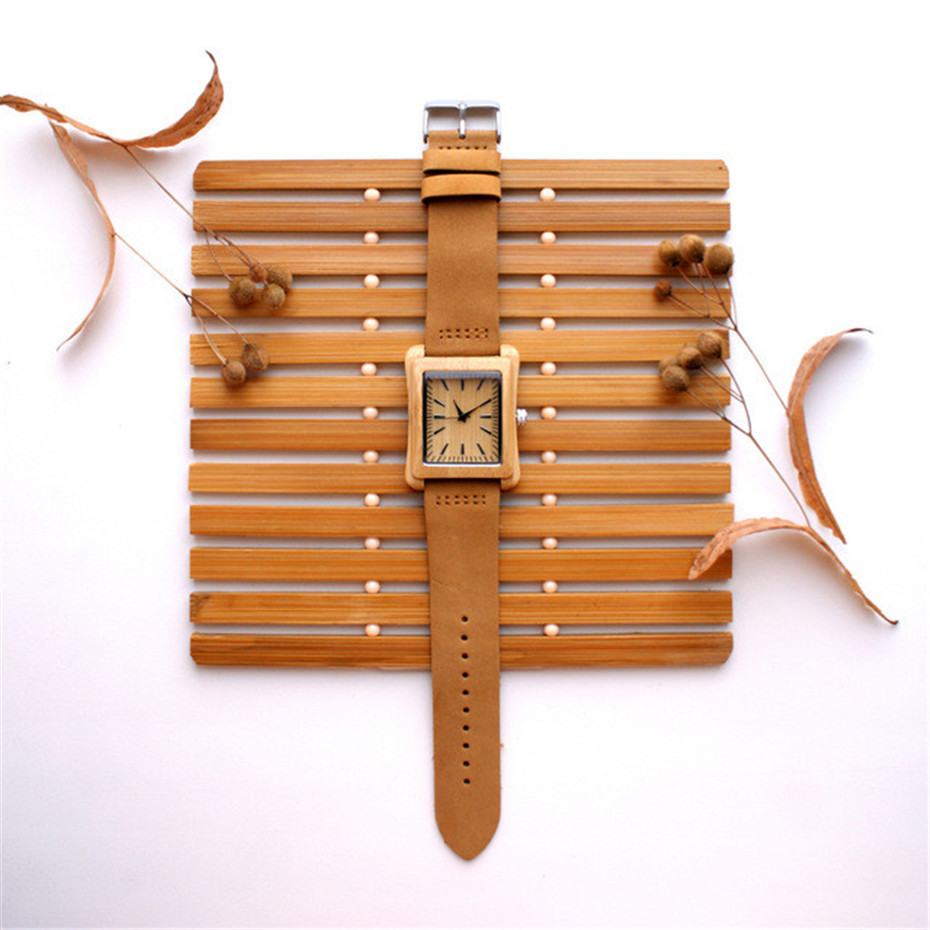 genuine leather band nature wood watch08