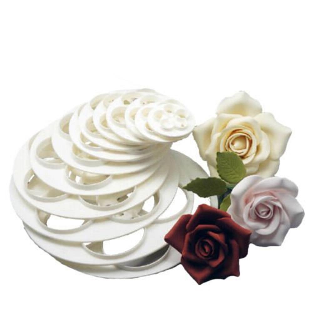 Hot Sale 1Set/6PCS Free Shipping Fondant Cake Sugar Craft Rose Flower Decorating Cookie Mold Gum Paste Cutter Tool