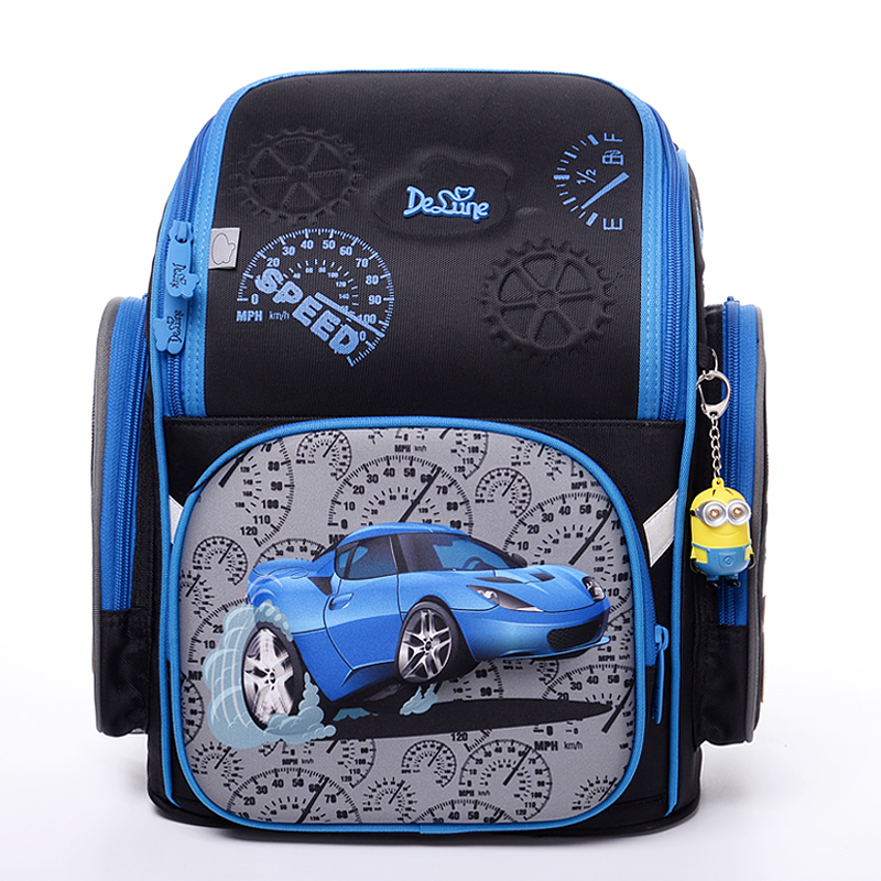 High Quality New 2-6 Grade Children School Bags For Boys 3D Racing Car Motorcycle Pattern Waterproof Orthopedic Backpack