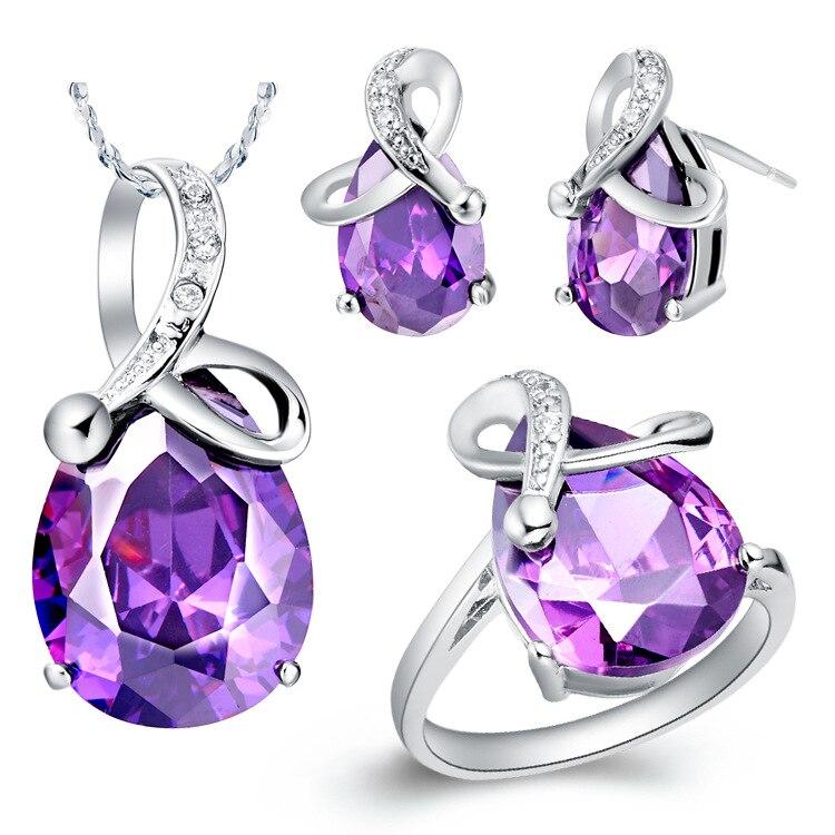 7345b96c1edb Juego de joyería de lujo para niñas pendientes con colgante blanco púrpura  Bijoux conjunto de ...