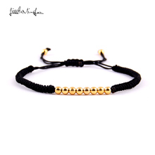 WML New Arrival gold color Copper Beads Braided Macrame Men Bracelets & Bangles For Women Jewelry