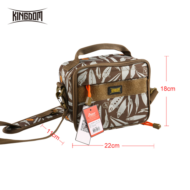Special Price Kingdom Fishing Bag 1000D Waterproof Nylon Outdoor 340g 22x11x18cm Multifunctional Lure Fishing Tackle Bags Model LYB-10