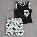 2016 Summer Baby Boys Brand Clothing Set Black Geometric Vest Short Pant 2PCS Set Cotton T shirt Pant Children's Clothes Set