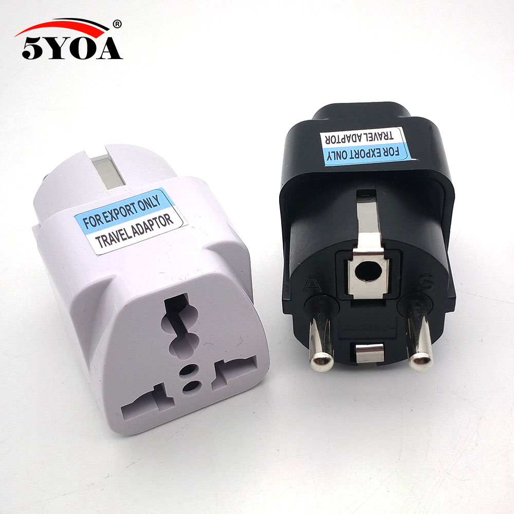 International Travel Universal Adapter Electrical Plug For UK US EU AU To EU European Socket Converter White Black Two Colors