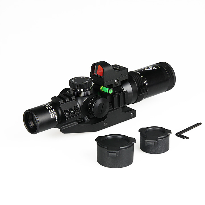 New Arrival 1-4x24 IRF Tactical Rifle Scope With 1X Mini Red Dot Scope For Hunting Shooting gs1-0292 22mm rail 1x 33mm red dot rifle scope 1 x cr2032