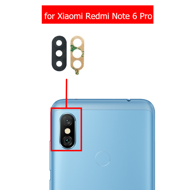 Glass-Lens Camera Note Repair-Spare-Parts Xiaomi Redmi Glue-Replacement for Back Rear
