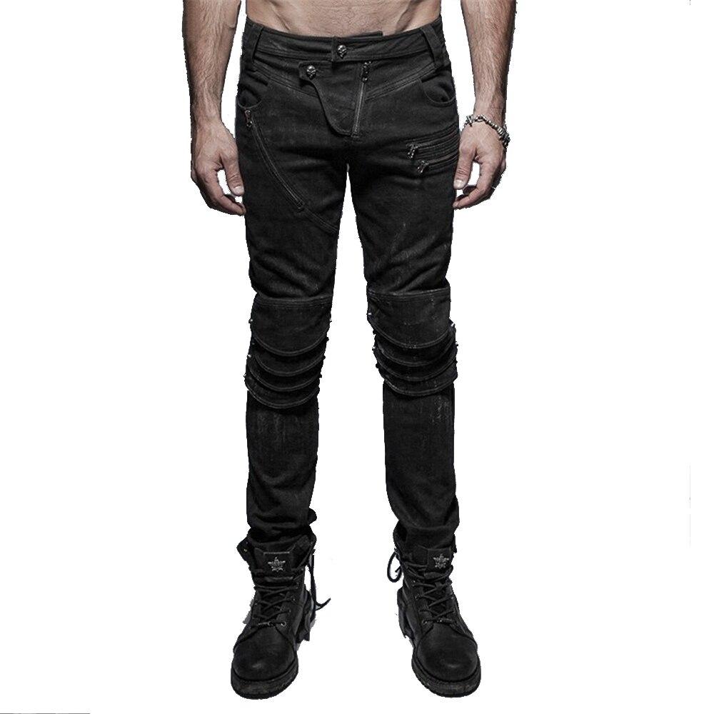 Steam Punk armure genou homme jeans lavables décontracté Slim pantalon en Denim gothique coton Long pantalon
