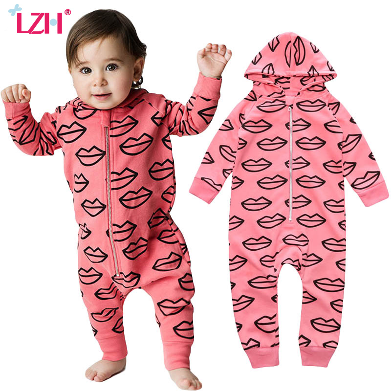 LZH Newborn Baby Clothes Rompers Jumpsuit Kids Girls Boys Hooded Romper Letter French Fries Print Heart Rompers Infant Clothing newborn infant baby boys girls kids clothing cotton romper jumpsuit colorful warm zipper rompers baby girl clothes outfit