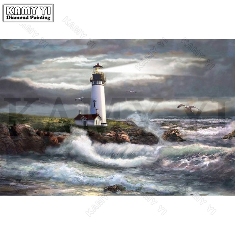 3D Needlework Diy Diamond Painting Sea View Diamond Embroidery Full Pasted Decorative Wall Stickers Cross Stitch Crafts