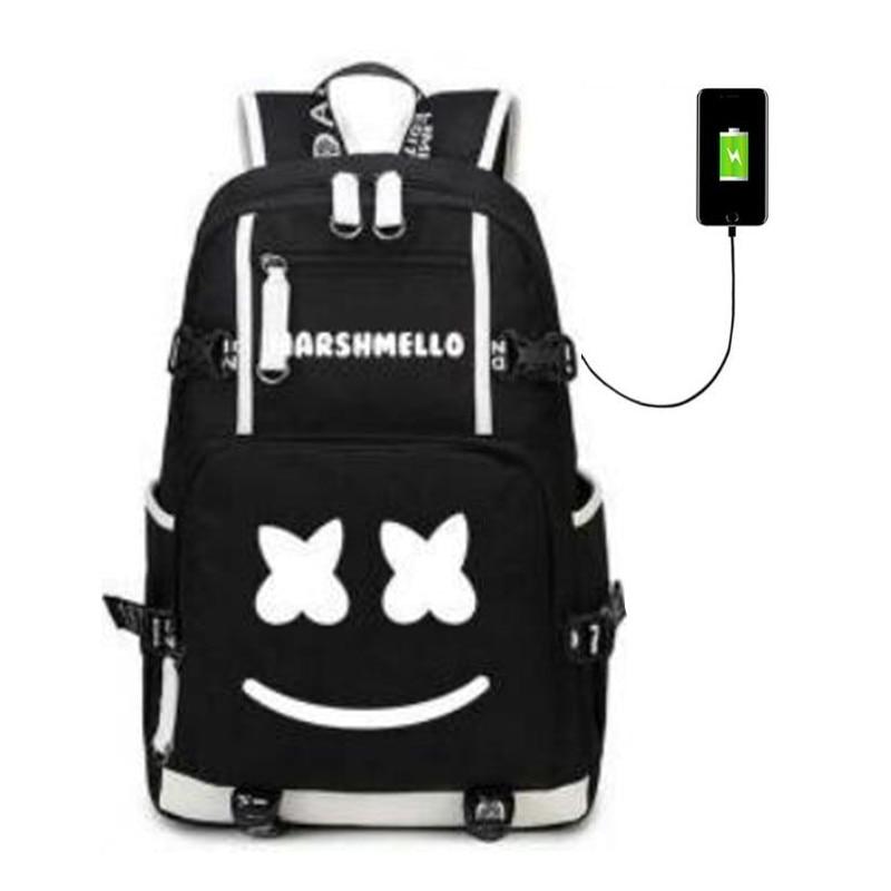 Marshmello DJ Skrillex Alan Walke USB Backpack Bags Laptop Travel Bags School Teenagers Rucksack Gift CosplayMarshmello DJ Skrillex Alan Walke USB Backpack Bags Laptop Travel Bags School Teenagers Rucksack Gift Cosplay