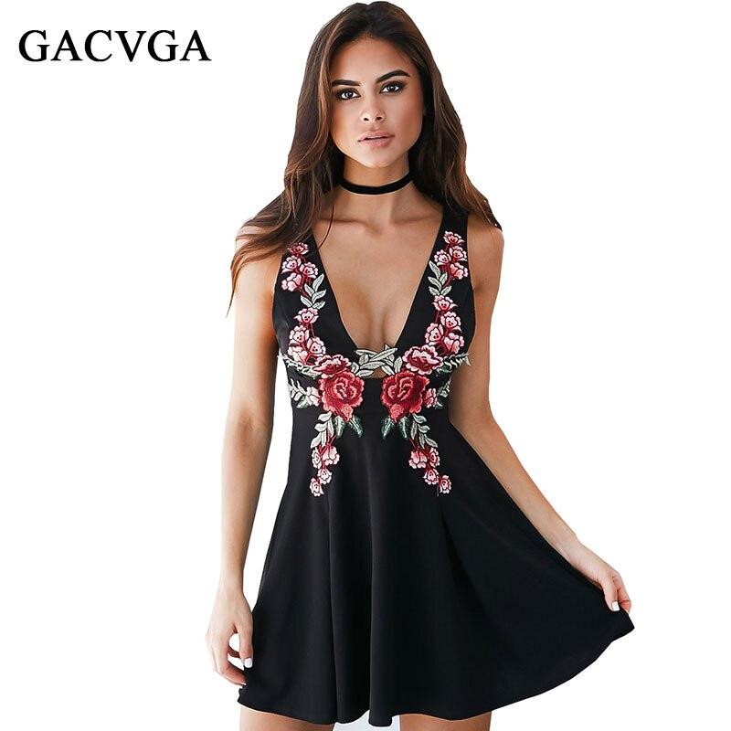 c71a1b92233 Gacvga Элегантный аппликация цветок Вышивка v-образным вырезом Офисные  наряды Bodycon рукавов сексуальное Винтаж Для женщин Платье для вечеринки