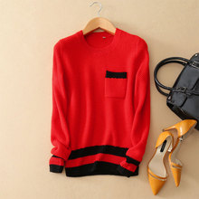 2017 Striped Knitting Pullover 100 Cashmere O neck Long Sleeve Red Sweater With Pockets Women Winter