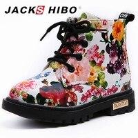 JACKSHIBO Brand New Kid Shoes Fashion Printing Girls Boots PU Leather Cute Baby Boots Kids Girl