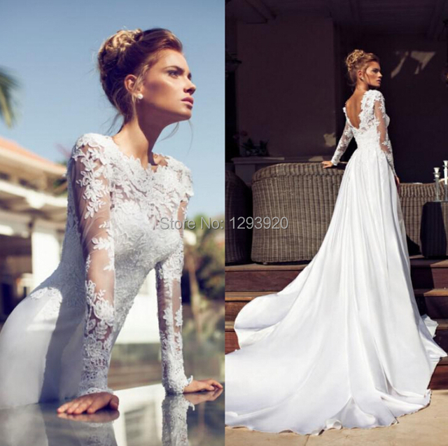 Elegant Silk Wedding Dresses With Sleeves: Elegant Wedding Dress Long Sleeve Turtleneck Flower Bud
