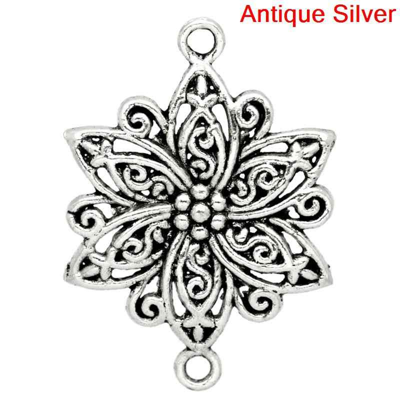 DoreenBeads Zinc metal alloy Connectors Findings Flower Antique Silver Flower Pattern color 4cm x 28mm ,3 PCs 2015 new