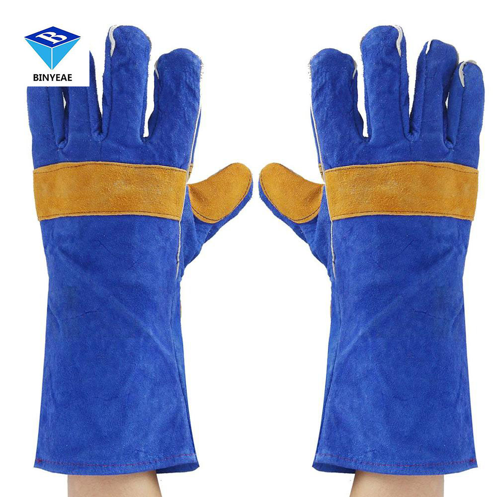 16'' Pair Long Heavy Duty Double Reinforced Welding Gauntlets Welder Gloves Safety Gloves Genuine Binyeae Genuine BINYEAE new 32cm xl heavy duty welding gloves stoves pu leather cowhide protect welder hands workplace safety glove