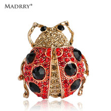 Lifelike Full Crystals Ladybug Brooches For Women Man Cute Animal Broches Collar Pins Dress Hat Masculino Punk Gothic Oro Clips
