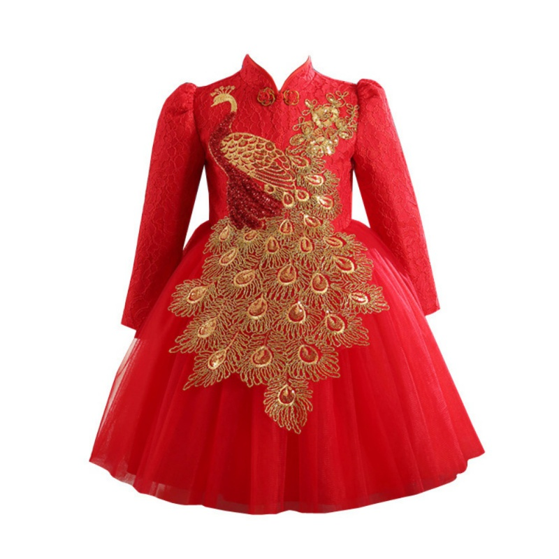 Big Bow Sequins Baby Girl Party Dress vestidos Kids Girls Chinese Style Qipao Dress Autumn Winter Long Sleeve Princess Dresses spring autumn girl style dress princess girls dresses high quality cotton kids party costumes solid thicker vestidos zipper bow