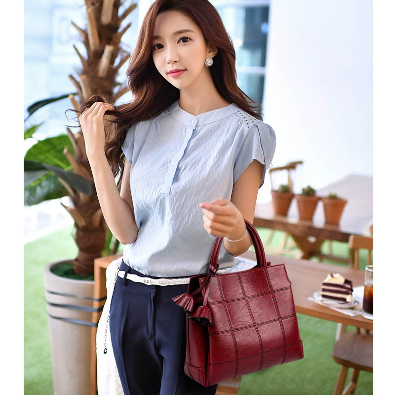 PU creative new stitching portable girl bag Korean style fashion checkered shoulder Messenger bag Mummy bag 2018 launch in Top Handle Bags from Luggage Bags