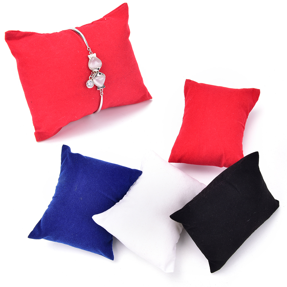 5pcs Jewelry Showcase Display Velvet Pillow Holder Bracelet Watch Boxes Display Pillows Bangle Jewelry For Red White Black Blue