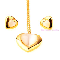 Fashion Design Charming Women S Girl S Gift 316L Stainless Steel Gold Romantic Heart Necklace Chain