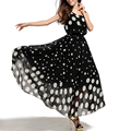 Fashion Women's Polka Dot Maxi Dress  For a Ankle-Length Chiffon Casual Big Swing Dresses S-3XL