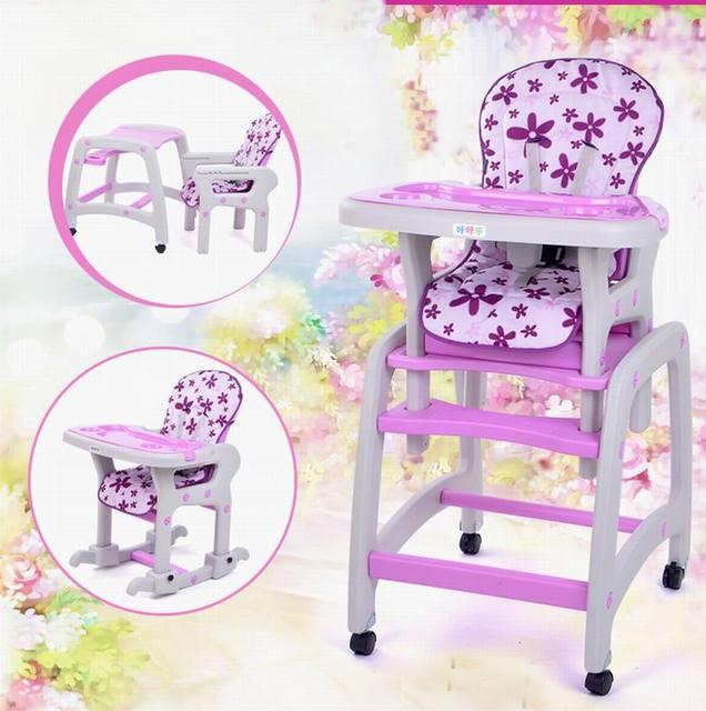 Новый дизайн многофункциональный ребенок обеденный стул + ребенка стул автоперевозки качалки лошадь + письменный стол для возраста 6 месяцев-10 лет