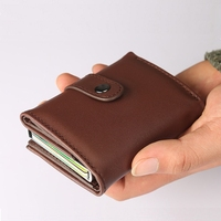 Fashion Women Men RFID Blocking Wallet Aluminum Cash Credit Card Holder Case Mini Leather Wallets