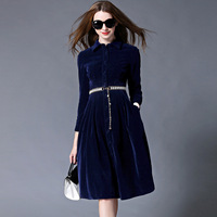 OL Style Royal Blue Velvet Dress Winter Dresses Women 2016 Vestido Longo Woman Long Sleeve Office