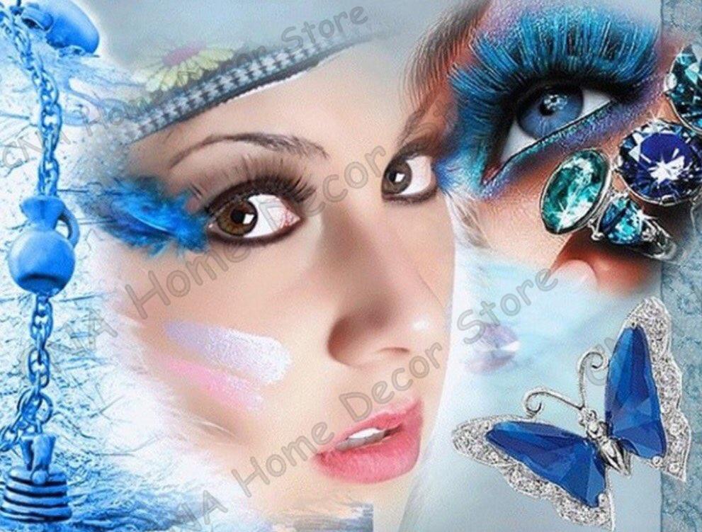 Красота и глаза фото полный дрель мозаика 5D DIY Вышивка алмаз живопись смолы 3D вышивки крестом kitsroom Декор Ремесло Наклейки